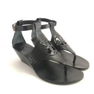 Tory Burch Zoey Wedge Sandals Black Leather Ankle
